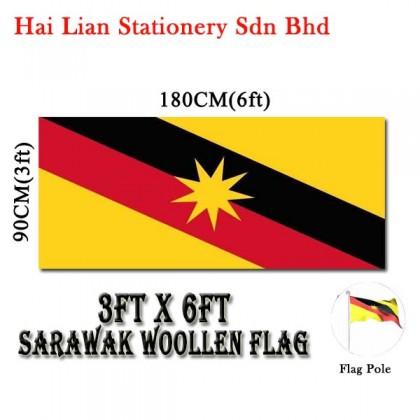 3' X 6' Malaysia / Sarawak Woollen Flag