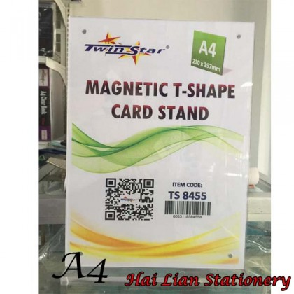 Twin Star Acrylic Magnetic T-Shape Card Stand