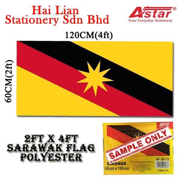 A'star 2' x 4' Malaysia Sarawak Polyester Flag (Thin Cloth)